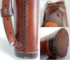 Dragon Classic Leather Quiver  Handamade Leather Classic and Medieval Hunting Quiver.  Made with natural leather and engraved with a wild boar