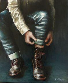 jeans et chaussures huile sur toile