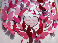 Wedding Guest Book Ideas - Wedding Tree 3D - Pink Butterflies - 3d tree - Modern alternative to traditional guestbooks