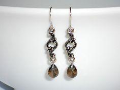 Swarovski crystal earrings dangle silver by SilverIrisJewelry