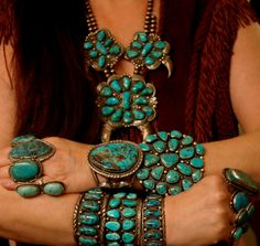 Turquoise Bracelets Rings Squash Blossom Necklace
