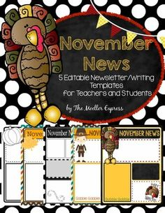 Thanksgivingfoodnewslettertemplateforwordfromedlah editable november newsletter writing prompt template thanksgiving spiritdancerdesigns Images