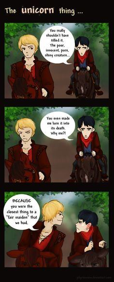 "merthur fanart | the unicorn thing "" by PilgrimSnow"