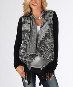 Love this Black & Gray Fringe Maternity Open Cardigan on #zulily! #zulilyfinds