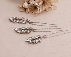 Bridal Hair pins Rhinestone hair pins by MagicBluebellDesigns