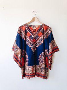 Vintage Indian Cotton Dashiki - boho, tribal, ethnic, caftan