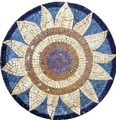 Sun Flower Mosaic Medallion Handmade Tiles for Table Top, Wall Art, or Floor Insert Decorations - MSA015