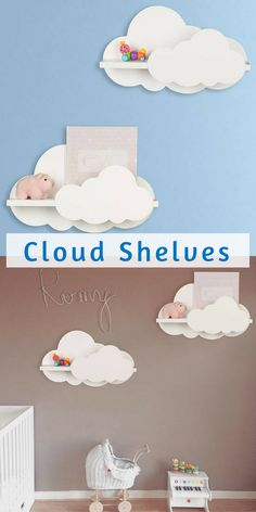 This white cloud shelf is an adorable addition to your nursery or child's bedroom wall decor. Cloud Shelf for Kids Room #nursery #ad #clouds
