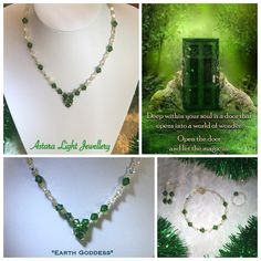 Beautiful Earth Goddess Crystal Necklace $50  - Swarovski Emerald & Crystal AB Beads  Matching Bracelet, Earrings & Ring are available