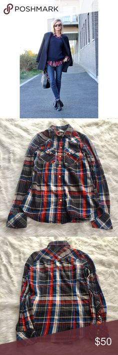 """[Levi's] •Pearl Button Plaid Button Up• Super adorable red/blue/gray plaid button up with Pearl snap buttons. Gently worn, in good condition. Size XS. Bust measures approx 15.5"""" laying flat. Levi's Tops Button Down Shirts"""