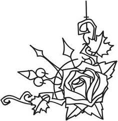 Clockwork Natura Rose Corner design (UTH3890) from UrbanThreads.com