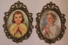2 Vintage Metal Ornate Framed Boy and Girl Praying by SweetKissos, $25.00