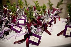 spruce tree wedding favors that doubled as place cards