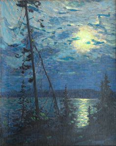 Moonlight by Tom Thomson (Canadian, In Algonquin Park, Canadian Group of Seven Emily Carr, Group Of Seven Art, Group Of Seven Paintings, Canadian Painters, Canadian Artists, Nocturne, Jackson Pollock, Landscape Art, Landscape Paintings
