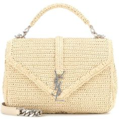 Saint Laurent Collège Small Raffia Shoulder Bag ($1,840) ❤ liked on Polyvore featuring bags, handbags, shoulder bags, shoulder bag handbag, yves saint laurent, beige handbags, raffia handbag and shoulder handbags