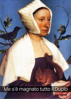 """Hans Holbien il giovane . """" Donna con scoiattolo """""""