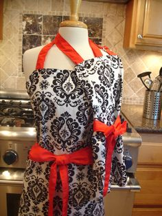 Mommy and Me Retro Apron Set - Mother Daughter Vintage Inspired Damask aprons with Red Ties - Women and Children's Aprons. $35.00, via Etsy.