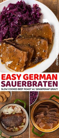 German Sauerbraten is slow cooked marinated beef roast with a savory gingersnap gravy. #dinner #sauerbraten #ginger #gingersnaps #beef #onions #dinnerthendessert Side Dishes Easy, Side Dish Recipes, New Recipes, Main Dishes, Dinner Recipes, Rare Roast Beef, Roast Beef Recipes, German Sauerbraten Recipe, Marinated Beef