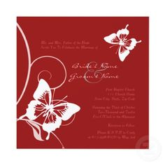 Red butterflies#wedding invitations & wedding stationery ... Wedding ideas for brides, grooms, parents & planners ... https://itunes.apple.com/us/app/the-gold-wedding-planner/id498112599?ls=1=8 … plus how to organise an entire wedding ♥ The Gold Wedding Planner iPhone App ♥