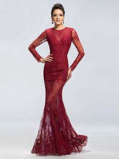 Wine colored special occasion lace dresses