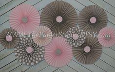 Pink Grey and Polka Dot Set of 10 Ten paper by ThePapierStudio