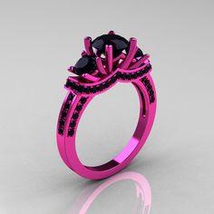 French 14K Pink Gold Three Stone Black Diamond Wedding Ring Engagement Ring