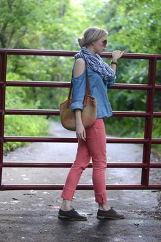 Blogger Lacy Rose in a Deb Shops top, scarf and oxfords!
