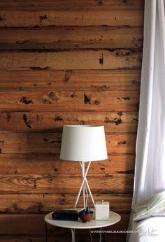 Downstairs Room Cedar-Planked-Wall in johns bathroom behind sink and toilet with grey vanity and lig Cedar Room, Cedar Walls, Wood Walls, Cedar Paneling, Cedar Planks, Bedroom Tv Wall, Master Bedroom, Garage Bedroom, Bedroom Modern