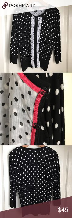 White House Black Market Cardigan Black and White Polka Dot with Ruffles. Lined. Has fabric hook and eye for a smooth seam when closed. Adorable sweater! Worn once. White House Black Market Sweaters Cardigans