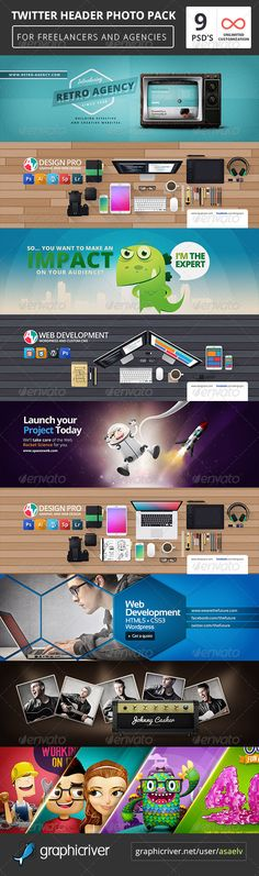 9 Twitter Header Covers Pack Template PSD. Download here: http://graphicriver.net/item/9-twitter-header-covers-pack/7589581?s_rank=482&ref=yinkira