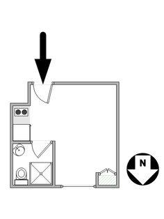 Paris Studio T1 logement location appartement - plan schématique  (PA-4288)