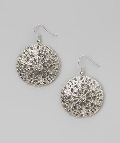Love this Silver Filigree Disc Drop Earrings on #zulily! #zulilyfinds