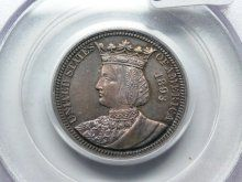 1893 Isabella Commemorative Quarter PCGS MS62 toned, old green holder.  One of the prettiest Isabellas we've seen in awhile.  Weaver Coin Auction