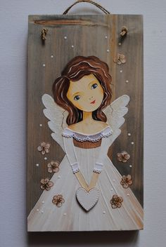 Angel Wings Art, Angel Art, Motifs Applique Laine, Wood Angel, Angel Crafts, Mary And Jesus, Wood Painting Art, Christmas Centerpieces, Learn To Paint