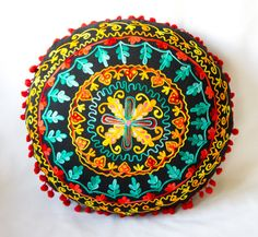 Black Turkish Traditional Decorative Round Pillow, Bohemian Cushion Cover, Embroidered Pillow, Cotton Pillow Case, Round Pillow Case