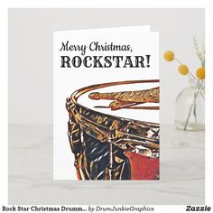 Wish your favorite Rock Star a Merry Christmas with this beautiful drummer card with a snare drum and drumsticks. #drummerchristmas #snaredrum #drumsticks #drumjunkie