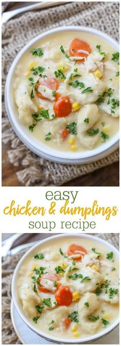 Chicken and Dumplings Soup - this simple, delicious soup is filled with chunks of chicken and biscuit pieces along with your favorite veggies!