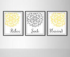 Relax, Soak, Unwind - Bathroom Decor - Set of 3 Art Prints - Yellow & Gray $22+