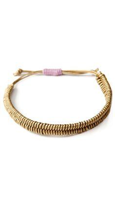leather + cotton fishbone bracelet