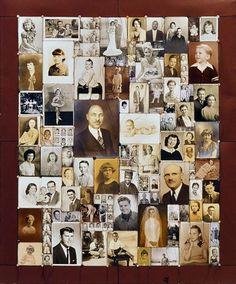 Lisa Kokin Kith and Kin Mixed media sewn found photo quilt, 45 x 38 x 1 inches, 2000