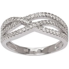 La Preciosa Sterling Silver Micro Pave CZ Ring (Size 7) ($20) ❤ liked on Polyvore featuring jewelry, rings, white, sterling silver cubic zirconia rings, band rings, pave band ring, white ring and sterling silver jewelry sets