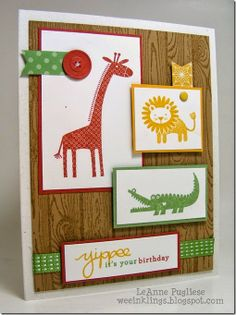 LeAnne Pugliese WeeInklings Colour Me! 22 Stampin Up Zoo Babies Endless Birthday Wishes