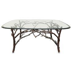 Glass Top Coffee Table with tree leg base | 1stdibs.com