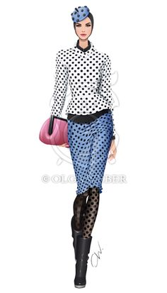 Fashion illustration: polka-dots by Olga Weber on deviantART| Be Inspirational❥|Mz. Manerz: Being well dressed is a beautiful form of confidence, happiness & politeness