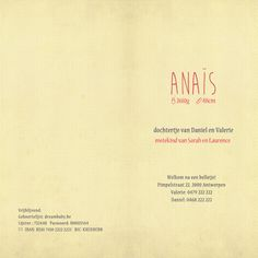 Geboortekaartje Anaïs - dubbel kaartje - binnenkant - Pimpelpluis - https://www.facebook.com/pages/Pimpelpluis/188675421305550?ref=hl (# dieren - flamingo - meisje - lief - schattig - retro - vintage - fiets - origineel)