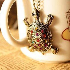 Love turtles? Vintage Boho Rhinestone Turtle Necklace