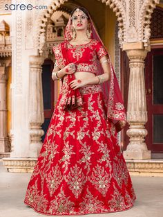 RED SILK LEHENGA CHOLI WITH EMBROIDERY WORK
