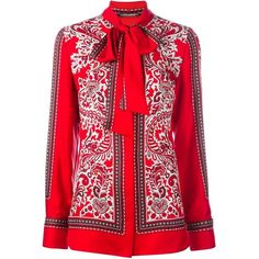 Alexander McQueen paisley print scarf blouse ($1,745) ❤ liked on Polyvore featuring tops, blouses, red, silk tops, long sleeve silk blouse, alexander mcqueen, paisley top and red blouse