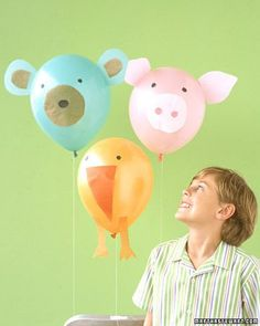 Farm animal balloons for a farm or animal themed birthday party - DIY