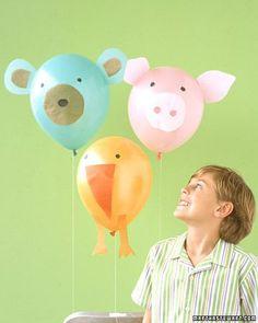 Farm animal balloons for a farm or animal themed birthday party - DIY